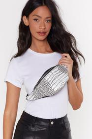 Nasty Gal White WANT New Round Here Croc Fanny Pac