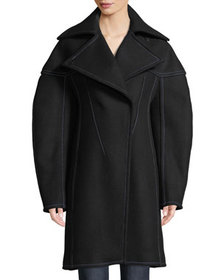 Thierry Mugler Full-Sleeve Structured Wool Coat w/