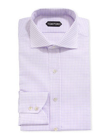 TOM FORD Men's Tattersall Cotton Dress Shirt