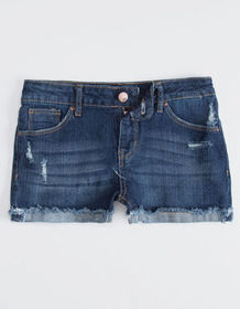 RSQ Malibu Cuff Dark Wash Girls Ripped Denim Short