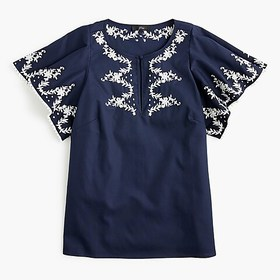 J. Crew Flutter-sleeve top with embroidered trim