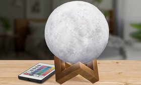 3D Light-Up & Rechargeable Moon Lamp with Remote C