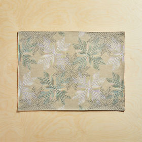 Crate Barrel Embroidered Metallic Snowflakes Place