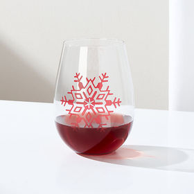 Crate Barrel Holiday Snowflake Stemless Wine Glass