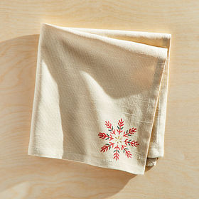 Crate Barrel Snowflake Burst Embroidered Napkin