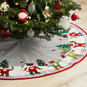 Crate Barrel Skating Holiday Bears Tree Skirt