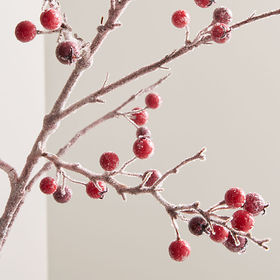 Crate Barrel Icy Red Berry Stem Branch