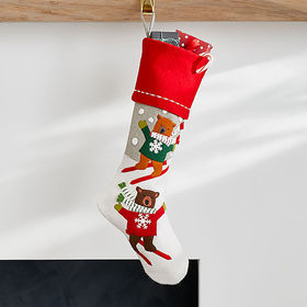 Crate Barrel Skiing Holiday Bears Stocking
