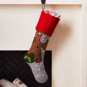 Crate Barrel Holiday Moose Stocking