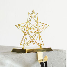 Crate Barrel 3D Star Gold Stocking Hook