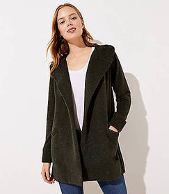 Flecked Hooded Pocket Open Cardigan
