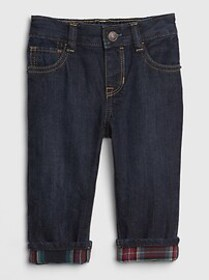 Baby Flannel-Lined Straight Jeans