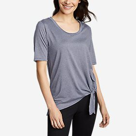 Women's 3/4-Sleeve Asymmetrical Side-Tie Top