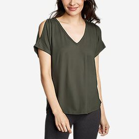 Women's Cold Shoulder V-Neck Top