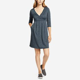 Women's Aster 3/4-Sleeve Crossover Dress with Pock
