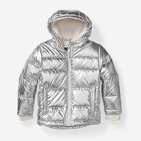 Girls' Classic Down Hooded Jacket - Metallic