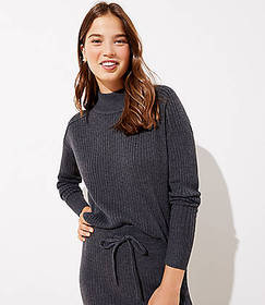 Ribbed Luxe Knit Mock Neck Sweater