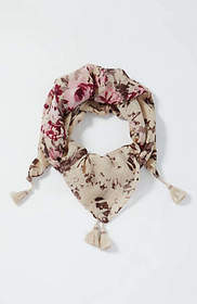 Pure Jill Abstract Floral Tasseled Square Scarf