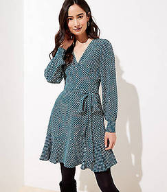 Dotted Smocked Cuff Wrap Dress
