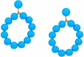 Kenneth Jay Lane Gold with 12 mm Turquoise Balls H
