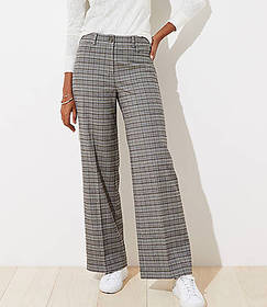 Brushed Plaid High Waist Wide Leg Pants in Curvy F