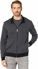 Perry Ellis Printed Jacquard Full Zip Long Sleeve