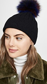 Jocelyn Knit Hat With Pastel Multi Fox Pom