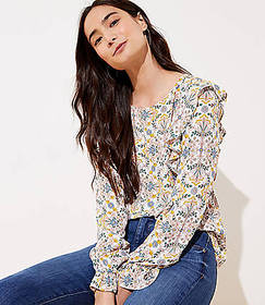 Tapestry Ruffle Shoulder Blouse