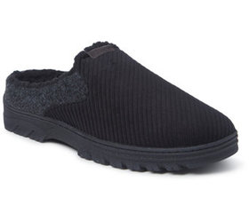 Dearfoams Men's Corduroy and Felted MicrowoolClog