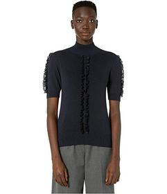 See by Chloe Short Sleeve Lace Trim Sweater