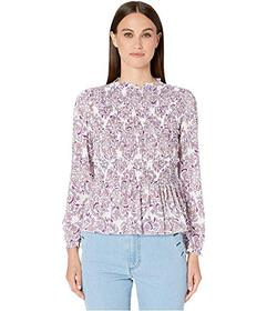 See by Chloe Ruched Long Sleeve Printed Blouse