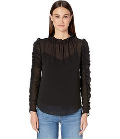 See by Chloe Ruched Sleeve Georgette Top