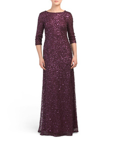 ADRIANNA PAPELL Three-quarter Sleeve Sequin Mermai