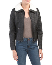 COFFEE SHOP Juniors Quilted Faux Leather Jacket