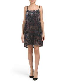 AS U WISH Juniors Printed Velvet Burnout Dress