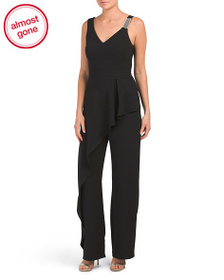 XSCAPE Made In Usa Crepe Asymmetrical Jumpsuit