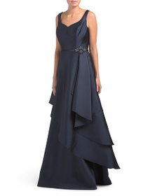 TERI JON Sweetheart Neck Diagonal Tier Gown