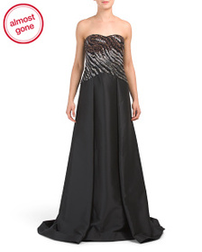 MIKAEL AGHAL Beaded Bodice Gown