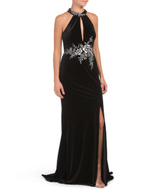 BASIX BLACK LABEL Embroidered Halter Velvet Gown