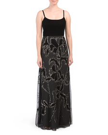 ADRIANNA PAPELL Embellished Skirt Gown