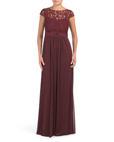 ADRIANNA PAPELL Lace Stretch Tulle Gown