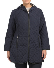 JONES NEW YORK Plus Quilted Jacket With Hood