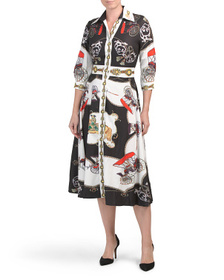 DALIA MACPHEE Button Down Printed Midi Shirt Dress
