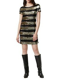 French Connection Anni Sequin Shift Dress BLACK GO
