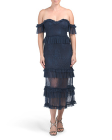 BARDOT Estate Blue Splice Lace Dress