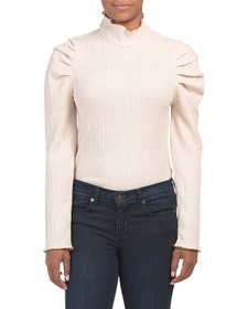 FREE PEOPLE Ela Puff Sleeve Turtleneck Top