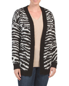 LOVE BY DESIGN Juniors Zebra Print Cardigan