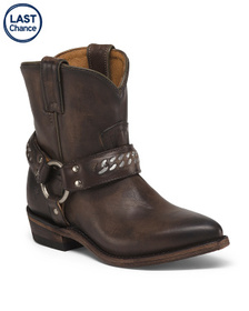 FRYE Leather Western Harness Boots