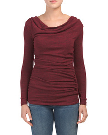 CARMEN MARC VALVO Long Sleeve Drape Top