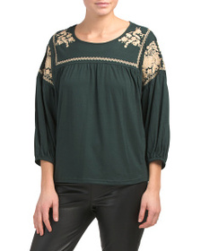 SOLITAIRE Crew Neck Embroidered Top